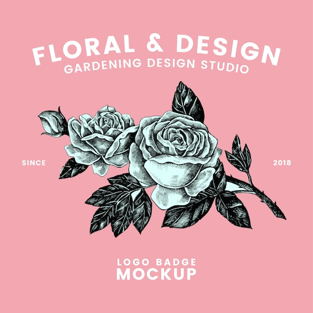 Gartenarbeit und blumenlogodesignvektor