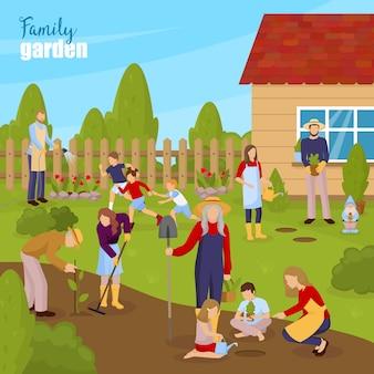 Gartenarbeit und familienillustration