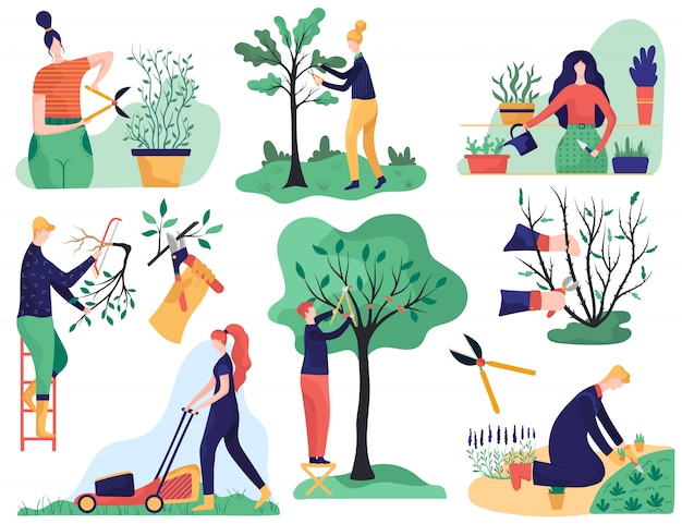 Gartenarbeit und schneiden von ästen, karikaturillustration