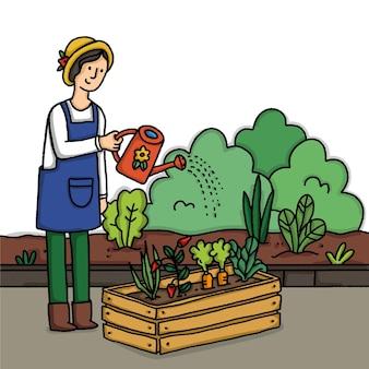 Gartenarbeit zu hause illustriert