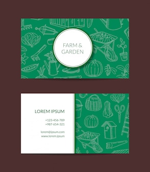 Gartenarbeitgekritzelikonen-visitenkarte