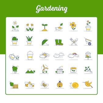 Gartenarbeitikonen eingestellt mit umrissener gefüllter art