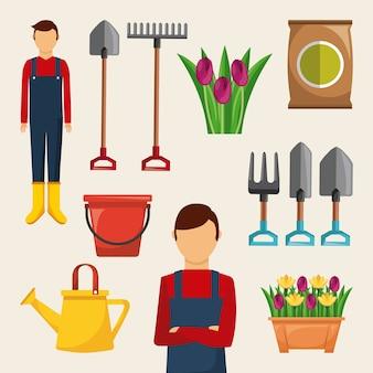 Gartenarbeitset ikonengärtnerwerkzeuge blüht sackdüngemitteleimer