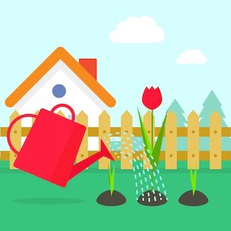 Gartenarbeitvektorillustration des sommers oder des frühlinges