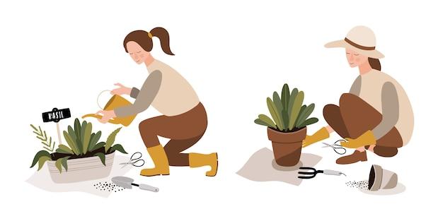Gartenarbeitzeit im gewächshaus mit den anlagen, die in den töpfen wachsen.