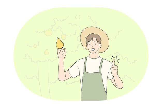 Gartenbau, landwirtschaft, berufsberufskonzept. junger lächelnder mann bauer in der einheitlichen ernte
