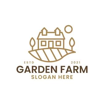 Gartenbauernhofansicht reisfeld monoline logo vorlage