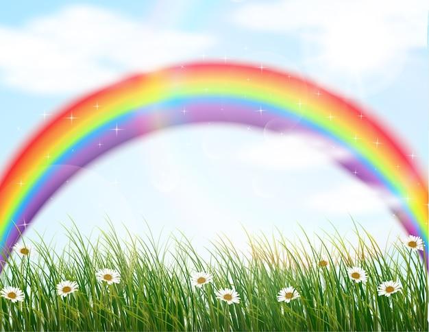 Gartenblume mit regenbogenhintergrund