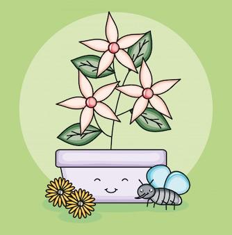 Gartenblumen pflanzen im topf mit den insekten, die kawaii art fliegen
