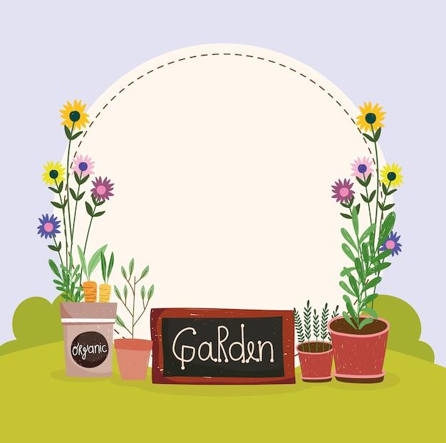 Gartenbrett und topfpflanzen
