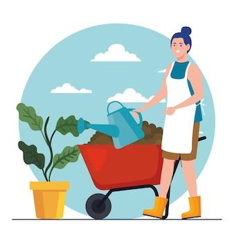 Gartenfrau mit bewässerung kann pflanzen- und schubkarrenentwurf, gartenpflanzung und naturthema pflanzen