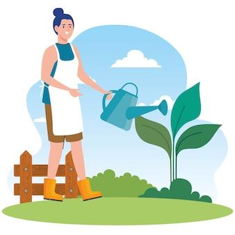 Gartenfrau mit gießkanne und pflanzendesign, gartenpflanzung und naturthema