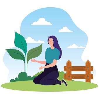 Gartenfrau mit pflanzendesign, gartenpflanzung und naturthema