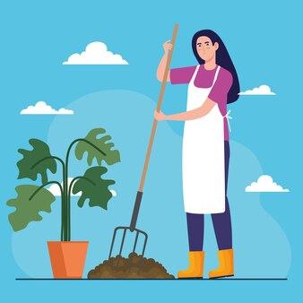 Gartenfrau mit rechen und pflanze innerhalb topfentwurf, gartenpflanzung und naturthema