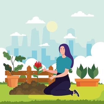 Gartenfrau mit rosen- und pflanzendesign, gartenpflanzung und naturthema