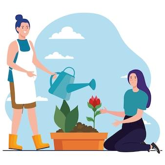 Gartenfrauen mit gießkanne und rosenblumendesign, gartenpflanzung und naturthema