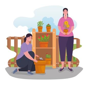 Gartenfrauen mit pflanzendesign, gartenpflanzung und natur
