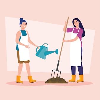 Gartenfrauen mit rechen und bewässerung können design, gartenpflanzung und naturthema