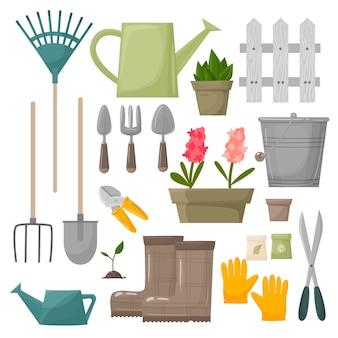 Gartengerät gartengeräte rechen, schaufel gießkanne, schere, handschuhe, stiefel. gärtnersammlungsfarm oder landwirtschaftssatzabbildungen lokalisiert auf weißem hintergrund