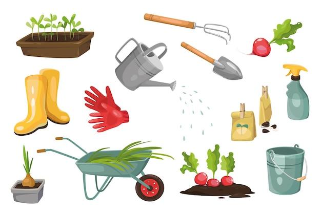 Gartengeräte-design-elemente-set. sammlung von sämlingen, gummistiefeln, handschuhen, gießkanne, spray, rettich, rechen, zwiebel, schubkarre. isolierte objekte der vektorillustration im flachen cartoon-stil