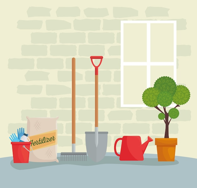 Gartengeräte eimer düngerbeutel rechen schaufel gießkanne und pflanzendesign, gartenpflanzung und natur