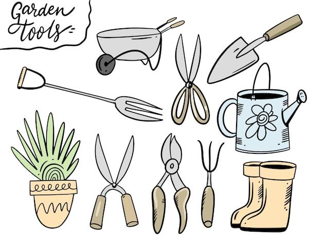 Gartengeräte einstellen. illustration im cartoon-stil. auf weißem hintergrund isoliert.