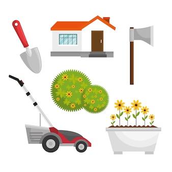 Gartengeräte flache ikonen eingestellt