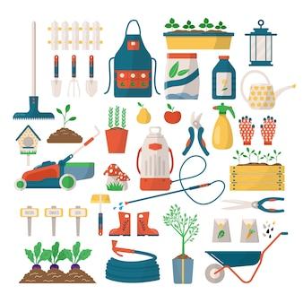 Gartengeräte und -geräte für die gartenarbeit. schaufel-, rechen-, spaten- und gärtnerhandschuhe, gießkanne und topf. landwirtschaftswerkzeugsammlung auf weiß, sprossen.