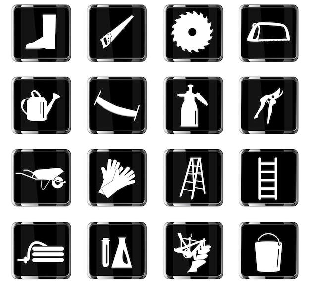 Gartengeräte-vektorsymbole für das design der benutzeroberfläche