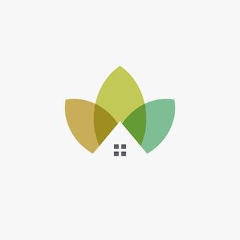 Gartenhaus logo vorlage design landwirtschaft logo chalet abstrakte symbol blütenblatt oder blätter haus eco