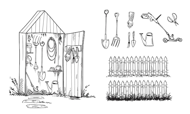 Gartenhaus und satz geardening-werkzeuge und rasenmäher, vektorskizze