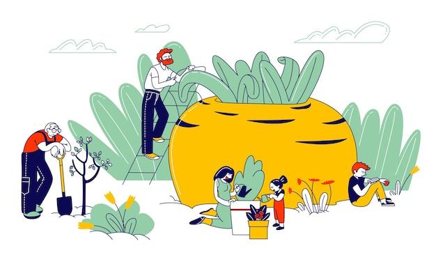 Gartenhobby, bauern oder gärtner familie mit kindern pflanzen und pflegen von bäumen und pflanzen. karikatur flache illustration