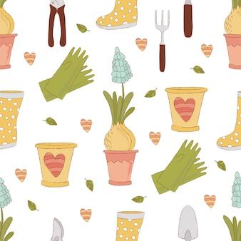 Gartening craft spring seamless pattern