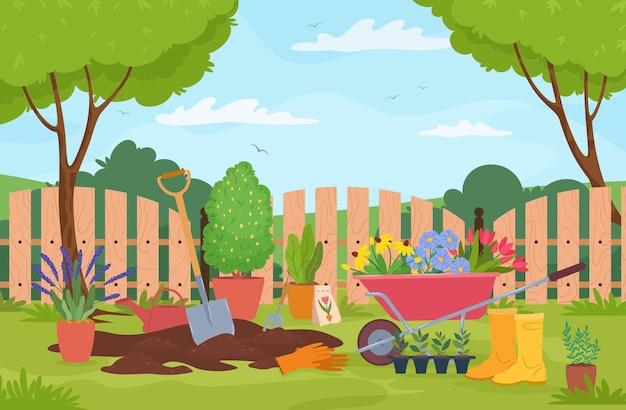 Gartenlandschaft mit pflanzenbäumen zaun und gartenwerkzeug-vektorillustration