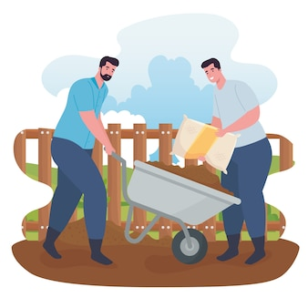 Gartenmänner mit schubkarre und düngerbeutel design, gartenpflanzung und natur Premium Vektoren