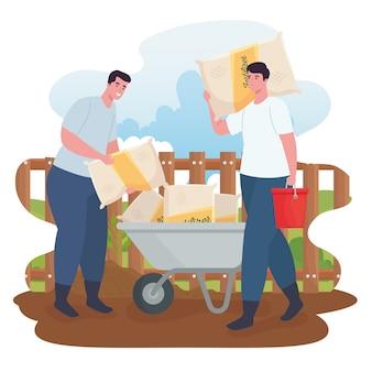 Gartenmänner mit schubkarre und düngerbeuteln und eimerkonstruktion, gartenpflanzung und natur Premium Vektoren