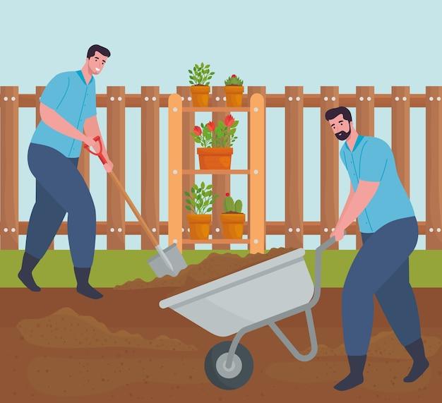 Gartenmänner mit schubkarren- und schaufelentwurf, gartenpflanzung und natur