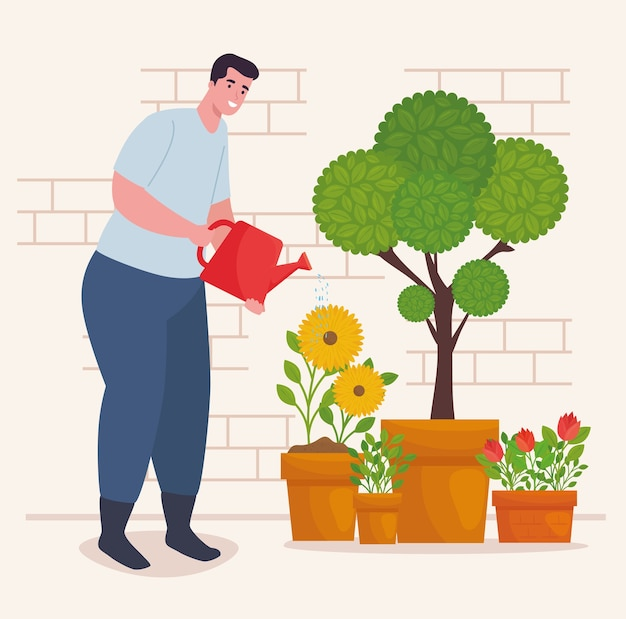 Gartenmann mit gießkanne und pflanzendesign, gartenpflanzung und natur