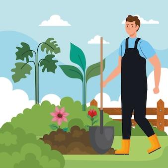 Gartenmann mit schaufel- und blumendesign, gartenpflanzung und naturthema