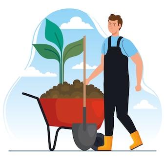 Gartenmann mit schaufel und pflanze auf schubkarrenentwurf, gartenpflanzung und naturthema