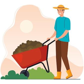 Gartenmann mit schubkarrenentwurf, gartenpflanzung und naturthema
