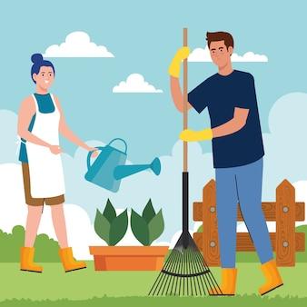 Gartenmann und frau mit rechen und bewässerung können design, gartenpflanzung und naturthema entwerfen