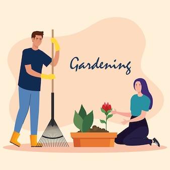 Gartenmann und -frau mit rechen- und rosenblumendesign, gartenpflanzung und naturthema