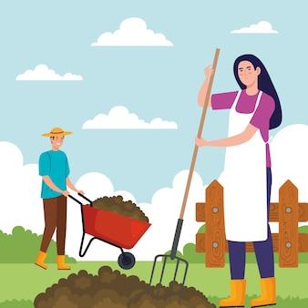 Gartenmann und -frau mit rechen- und schubkarrenentwurf, gartenpflanzung und naturthema Premium Vektoren