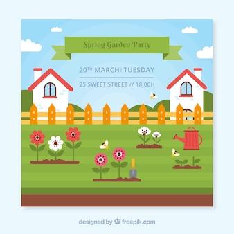 Gartenparty-einladungsentwurf mit häusern
