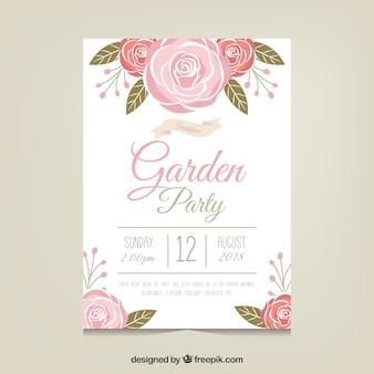 Gartenparty-einladungsschablone mit schönen blumen