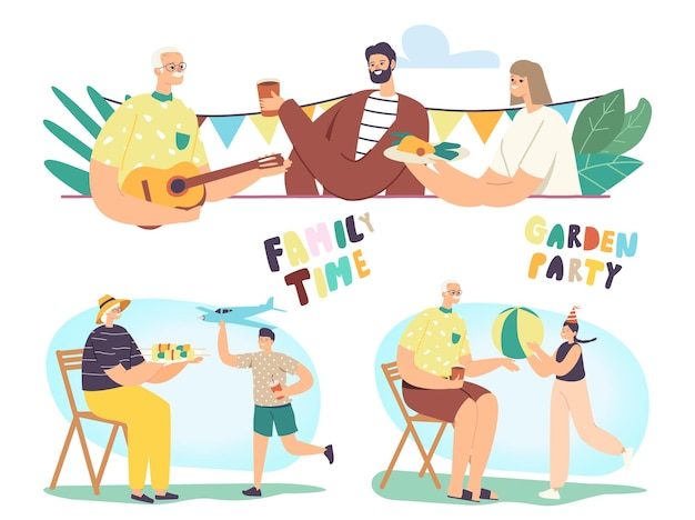Gartenparty, sommerferien-set mit glücklichen familienfiguren verbringen sie zeit im freien, essen und kommunizieren sie, fröhliche kinder spielen mit großeltern im haushof y