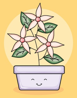 Gartenpflanze im quadratischen topf kawaii charakter