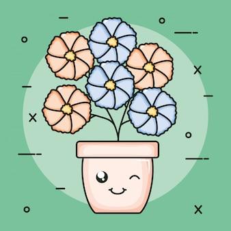 Gartenpflanze im topf kawaii charakter