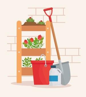 Gartenpflanzen eimer flasche und schaufel design, gartenpflanzung und natur